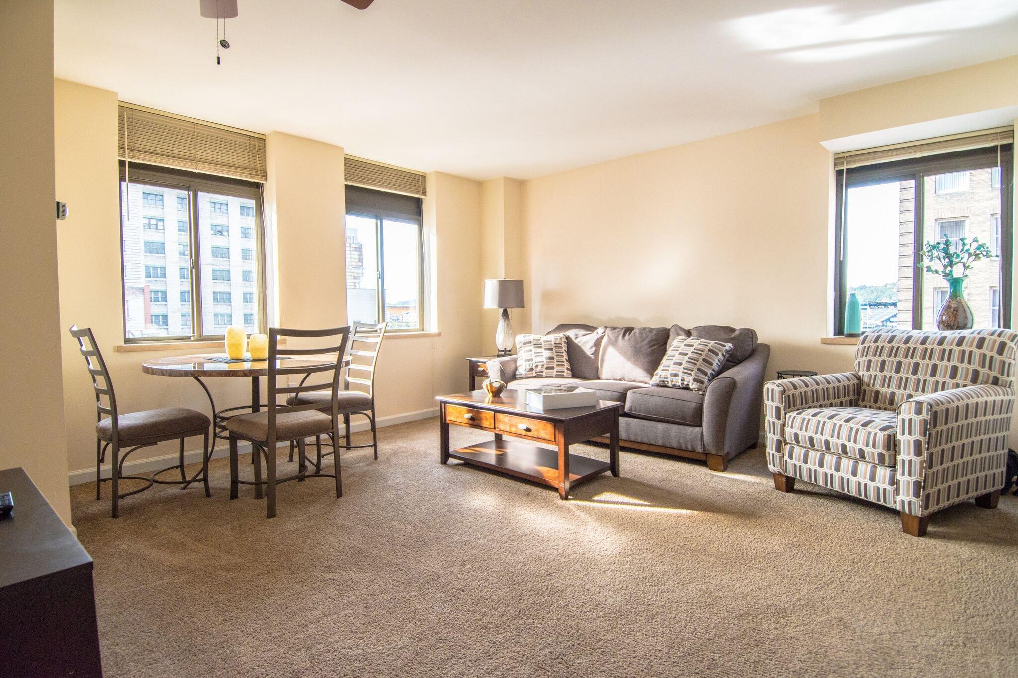 Living Room in Model Unit Roosevelt Building Pittsburgh